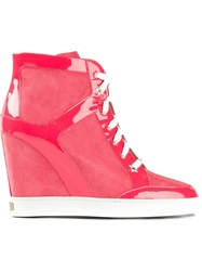 Jimmy Choo 'Panama' Wedge Hi Top Sneakers Pink And Purple