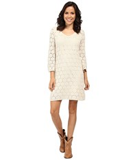 Stetson Double Knit Lace V Neck Dress 3 4 Sleeves White Women's Dress