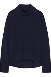 Helmut Lang Ribbed Wool And Cashmere Blend Turtleneck Sweater Blue