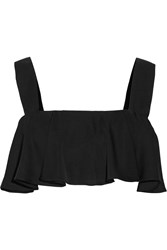 Milly Cropped Stretch Silk Top Black