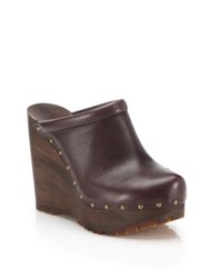 See By Chloe Clive Faux Leather Platform Wedge Clogs Brown