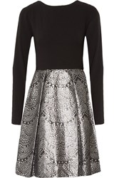 Theia Crepe And Brocade Dress Black