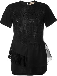No21 Embroidered Lace Panelled Blouse Black