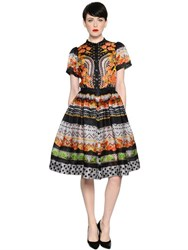 Temperley London Floral Lace Printed Silk Satin Dress