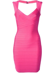 Herve Leger Fitted Sleeveless Bandage Dress Pink And Purple