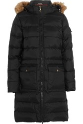 Pyrenex Authentic Faux Fur Trimmed Quilted Shell Down Coat Black