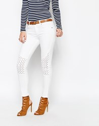 Supertrash Paradise Cropped Jeans With Embroidered Knee White