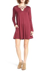 Socialite Women's Crisscross Front Dress Oxblodd