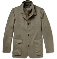 Loro Piana Roadster Suede Trimmed Cashmere Jacket Green
