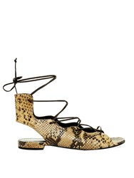 Saint Laurent Lace Up Python Effect Sandals
