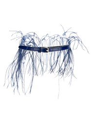 Emilio Pucci Feather Thin Belt Blue