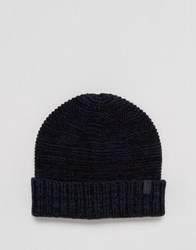 Selected Homme Beanie In Textured Knit Black