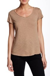 14Th And Union Short Sleeve V Neck Tee Petite Brown