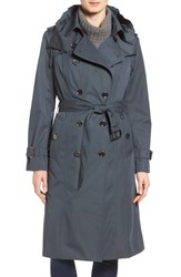 London Fog Women's Double Breasted Trench Coat Slate