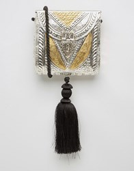 Park Lane Etched Metal Bag With Tassel Silver Gold