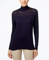 August Silk Mock Neck Illusion Striped Sweater Newport Navy