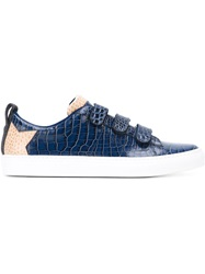 Msgm Crocodile Embossed Sneakers Blue