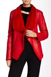 Versus By Versace Giacca Montone Genuine Lamb Fur Trim Leather Jacket Red