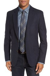 Flynt Men's Big And Tall Regular Fit Stripe Wool Blend Sport Coat