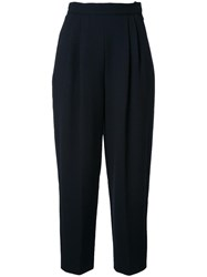 Delpozo High Rise Cropped Trousers Black