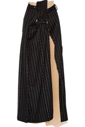 Maison Martin Margiela Layered Striped Wool And Angora Blend Maxi Skirt Black