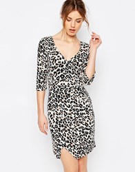 Yumi Uttam Boutique 3 4 Sleeve Leopard Wrap Dress Brown