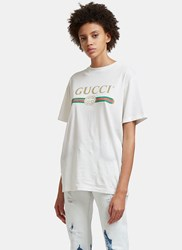 Gucci Faded Logo Floral Embroidered T Shirt White