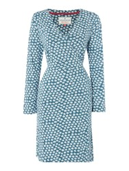 Brakeburn Delicate Daisy Long Sleeve Wrap Dress Teal