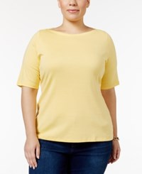 Charter Club Plus Size Boat Neck T Shirt Only At Macy's Soft Daffodil