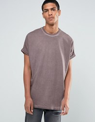 Asos Super Oversized T Shirt With Roll Sleeve In Mink Pigment Wash Violet Grey Purple