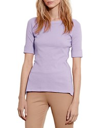 Lauren Ralph Lauren Petite Stretch Cotton Boatneck Tee Pale Iris