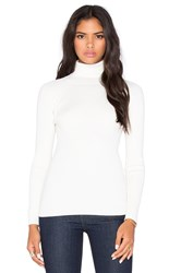 525 America Solid Rib Turtleneck Sweater White