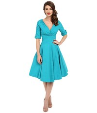 Unique Vintage Delores Sleeved Swing Dress Teal Dot Women's Dress Blue