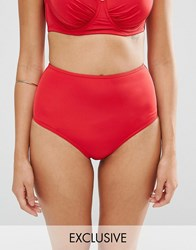 Wolf And Whistle High Waisted Control Bikini Bottom Red