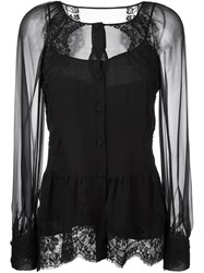 Alberta Ferretti Sheer Lace Blouse Black