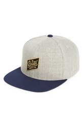 Brixton Men's Bedford Snapback Baseball Cap Grey Light Heather Grey Navy