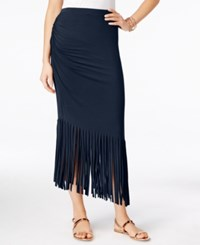 Inc International Concepts Petite Asymmetrical Fringe Maxi Skirt Only At Macy's Deep Twilight