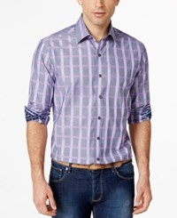 Tasso Elba Men's Grid Print Long Sleeve Shirt Only At Macy's