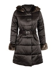Morgan Shiny Look Quilted Belted Jacket Black