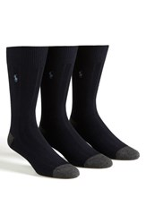 Men's Polo Ralph Lauren Ribbed Socks Blue 3 Pack Navy