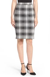 Halogenr Petite Women's Halogen Plaid Pencil Skirt Black Plaid Pattern