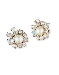 Marchesa 6Mm Simulated Pearl Cluster Stud Earrings Gold