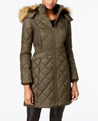 Jones New York Faux Fur Trim Quilted Down Coat Olive