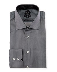 English Laundry Striped Woven Dress Shirt Gray
