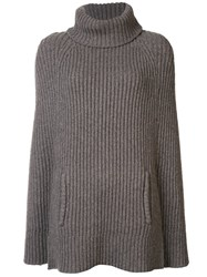 By. Bonnie Young Ribbed Knit Cape Grey