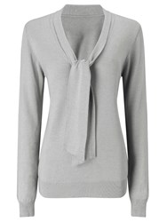 Jacques Vert Tie Neck Knit Jumper Grey
