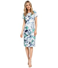 Adrianna Papell Picasso Floral Printed Fitted Sheath Dress Navy White Women's Dress Blue