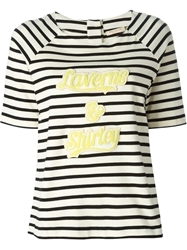 Erika Cavallini Semi Couture Laverns And Shirley Applique Striped T Shirt Nude And Neutrals