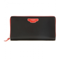 Balenciaga Nude Continental Zip Around Leather Wallet Black Red