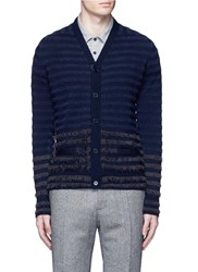 Altea Boucle Stripe Wool Cardigan Blue